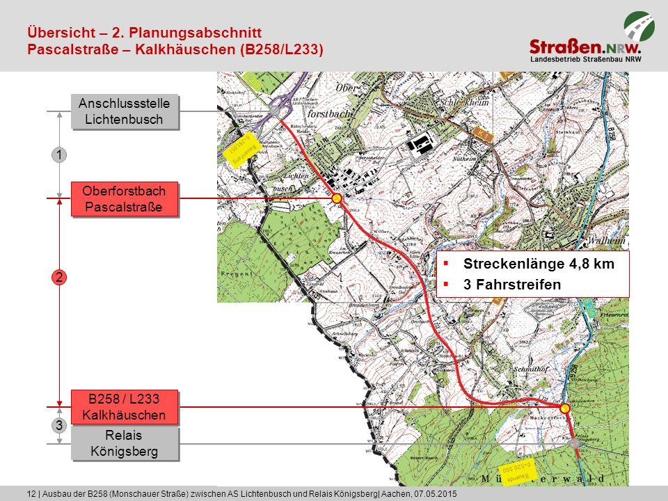 12 | Ausbau der B258 (Monschauer Straße) zwischen AS Lichtenbusch und Relais Königsberg| Aachen, 07.05.2015 Übersicht – 2. Planungsabschnitt Pascalstr