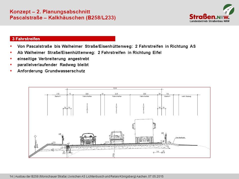 14 | Ausbau der B258 (Monschauer Straße) zwischen AS Lichtenbusch und Relais Königsberg| Aachen, 07.05.2015 3 Fahrstreifen Konzept – 2. Planungsabschn