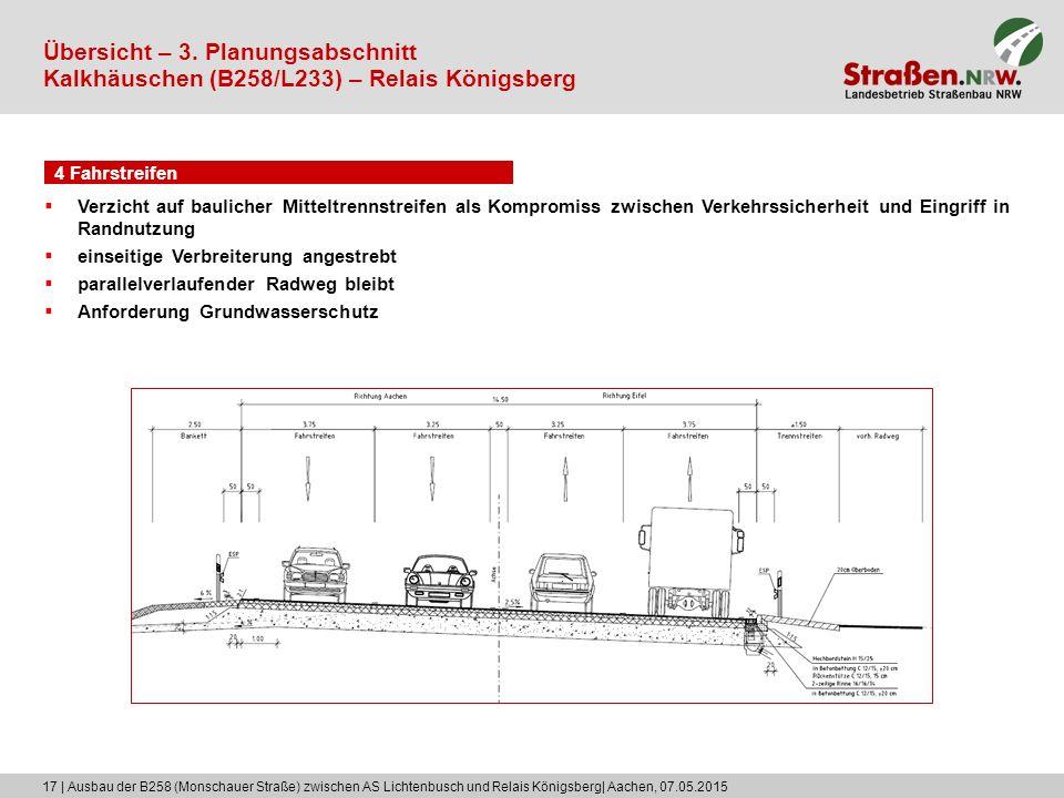 17 | Ausbau der B258 (Monschauer Straße) zwischen AS Lichtenbusch und Relais Königsberg| Aachen, 07.05.2015 4 Fahrstreifen Übersicht – 3. Planungsabsc