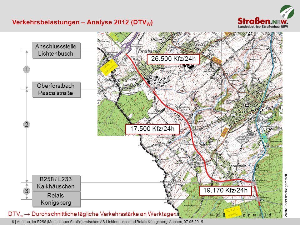 6 | Ausbau der B258 (Monschauer Straße) zwischen AS Lichtenbusch und Relais Königsberg| Aachen, 07.05.2015 Verkehrsbelastungen – Analyse 2012 (DTV W )