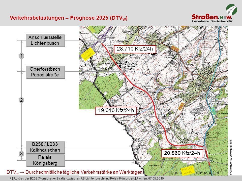 7 | Ausbau der B258 (Monschauer Straße) zwischen AS Lichtenbusch und Relais Königsberg| Aachen, 07.05.2015 Verkehrsbelastungen – Prognose 2025 (DTV W