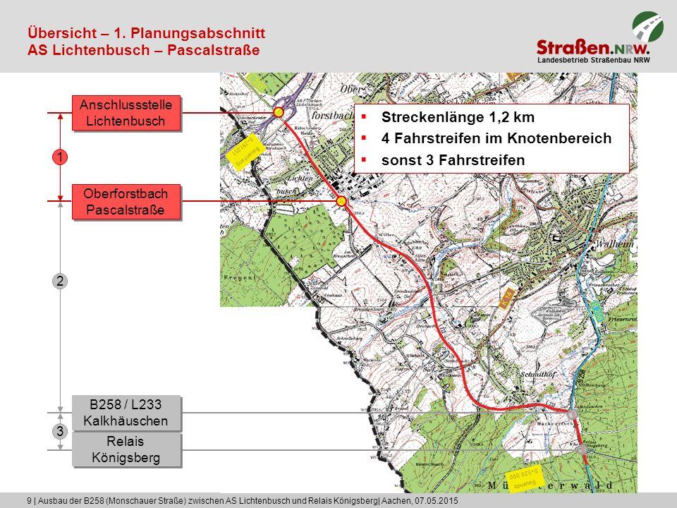 9 | Ausbau der B258 (Monschauer Straße) zwischen AS Lichtenbusch und Relais Königsberg| Aachen, 07.05.2015 Übersicht – 1. Planungsabschnitt AS Lichten