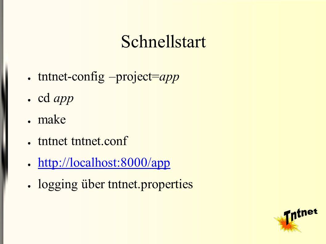 Schnellstart ● tntnet-config –project=app ● cd app ● make ● tntnet tntnet.conf ● http://localhost:8000/app http://localhost:8000/app ● logging über tntnet.properties