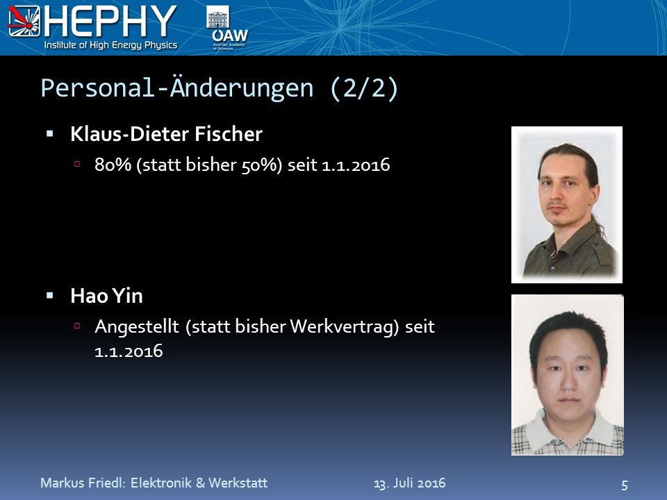 Personal-Änderungen (2/2)  Klaus-Dieter Fischer  80% (statt bisher 50%) seit 1.1.2016  Hao Yin  Angestellt (statt bisher Werkvertrag) seit 1.1.201