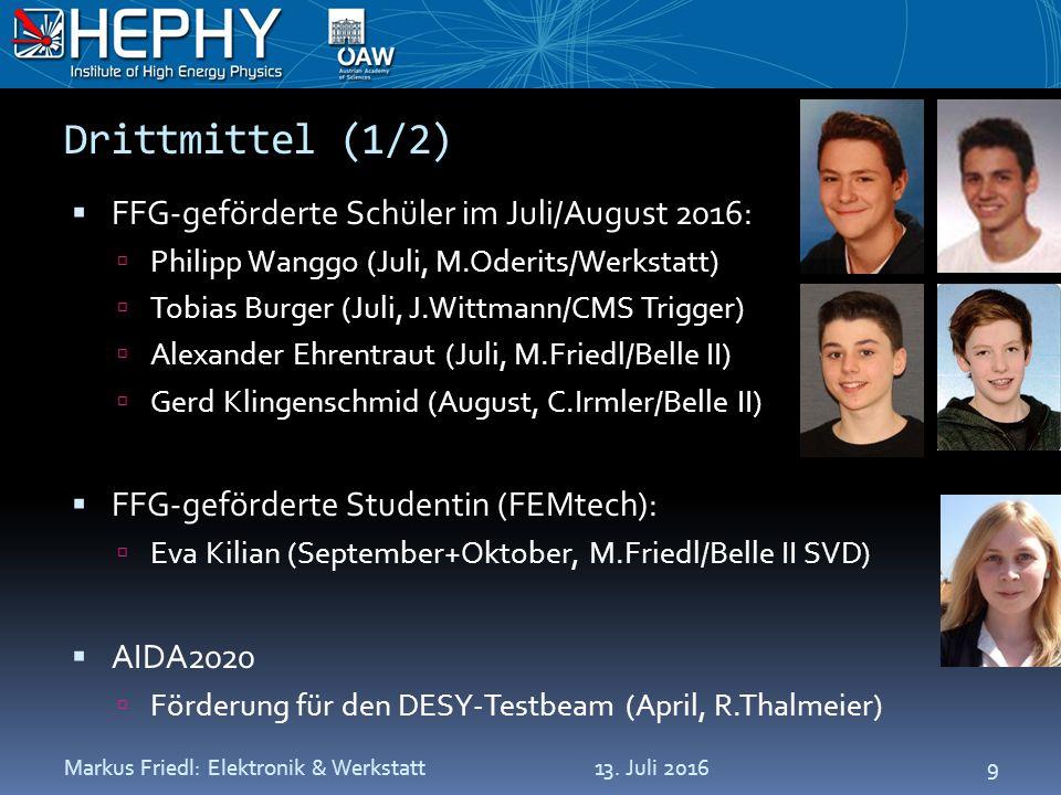 Drittmittel (1/2)  FFG-geförderte Schüler im Juli/August 2016:  Philipp Wanggo (Juli, M.Oderits/Werkstatt)  Tobias Burger (Juli, J.Wittmann/CMS Trigger)  Alexander Ehrentraut (Juli, M.Friedl/Belle II)  Gerd Klingenschmid (August, C.Irmler/Belle II)  FFG-geförderte Studentin (FEMtech):  Eva Kilian (September+Oktober, M.Friedl/Belle II SVD)  AIDA2020  Förderung für den DESY-Testbeam (April, R.Thalmeier) 13.