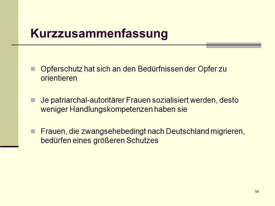 Kurzzusammenfassung Opferschutz hat sich an den Bedürfnissen der Opfer zu orientieren Je patriarchal-autoritärer Frauen sozialisiert werden, desto weniger Handlungskompetenzen haben sie Frauen, die zwangsehebedingt nach Deutschland migrieren, bedürfen eines größeren Schutzes 14