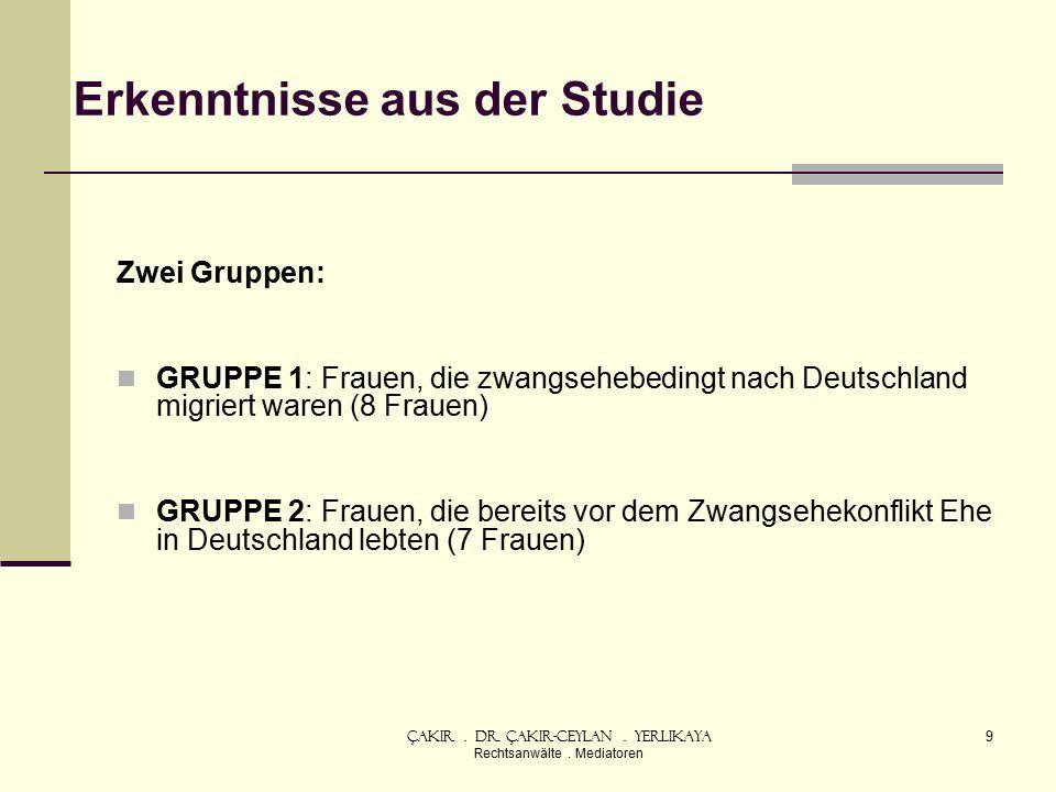 Erkenntnisse aus der Studie Zwei Gruppen: GRUPPE 1: Frauen, die zwangsehebedingt nach Deutschland migriert waren (8 Frauen) GRUPPE 2: Frauen, die bereits vor dem Zwangsehekonflikt Ehe in Deutschland lebten (7 Frauen) Çakır.