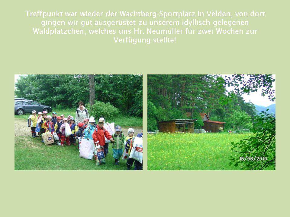 Treffpunkt war wieder der Wachtberg-Sportplatz in Velden, von dort gingen wir gut ausgerüstet zu unserem idyllisch gelegenen Waldplätzchen, welches uns Hr.