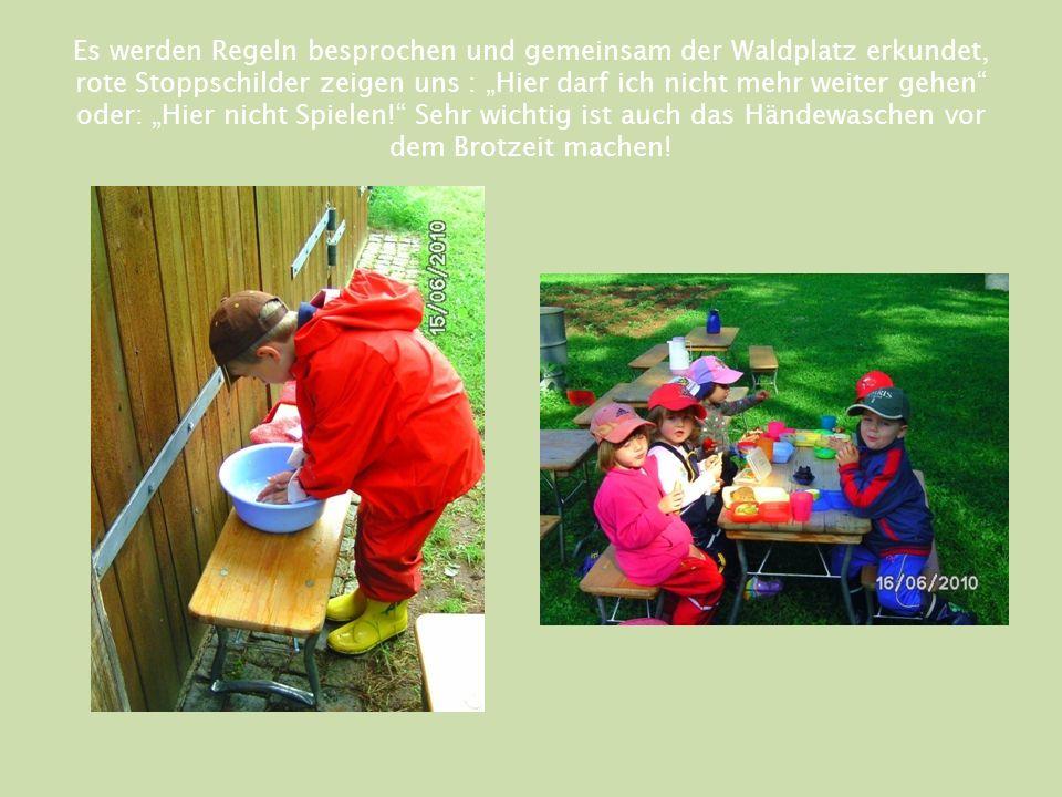 """Es werden Regeln besprochen und gemeinsam der Waldplatz erkundet, rote Stoppschilder zeigen uns : """"Hier darf ich nicht mehr weiter gehen oder: """"Hier nicht Spielen! Sehr wichtig ist auch das Händewaschen vor dem Brotzeit machen!"""