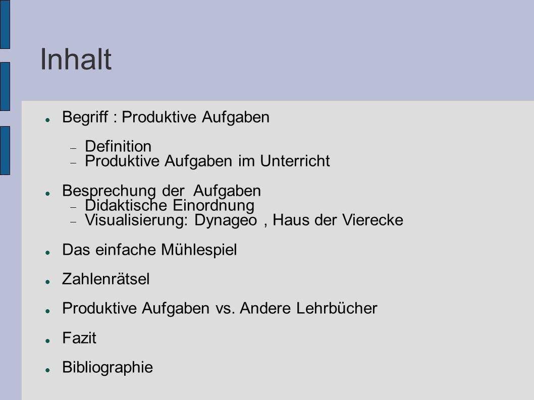 Inhalt Begriff : Produktive Aufgaben  Definition  Produktive Aufgaben im Unterricht Besprechung der Aufgaben  Didaktische Einordnung  Visualisieru