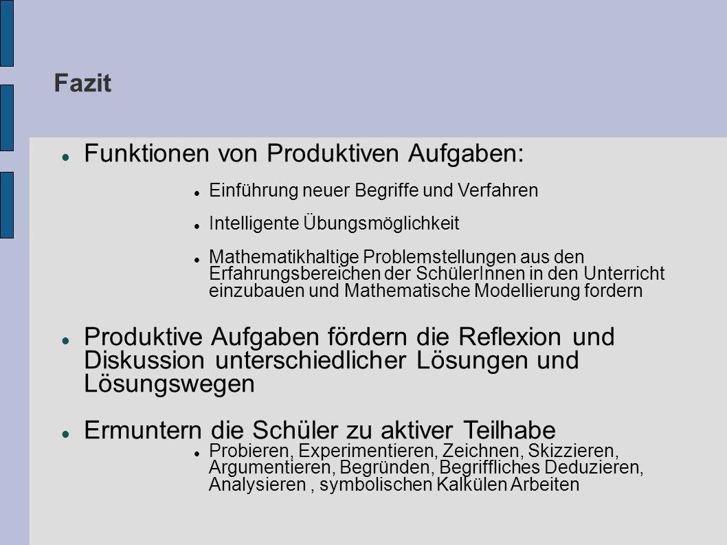 Fazit Funktionen von Produktiven Aufgaben: Einführung neuer Begriffe und Verfahren Intelligente Übungsmöglichkeit Mathematikhaltige Problemstellungen