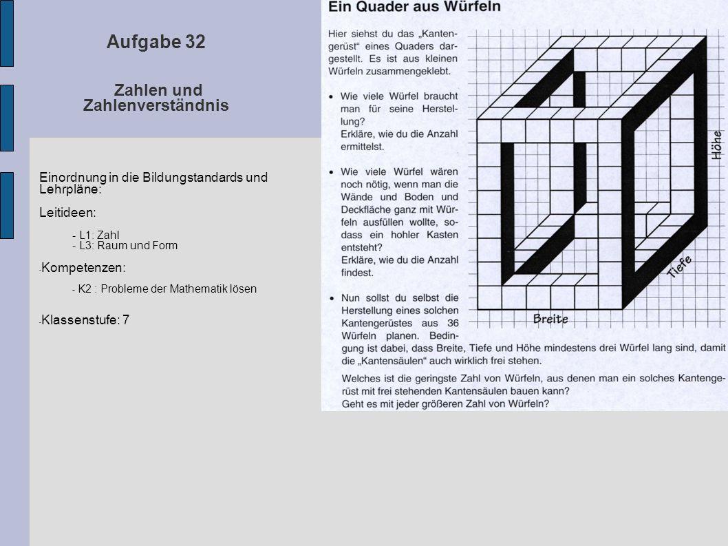 Aufgabe 32 Zahlen und Zahlenverständnis Einordnung in die Bildungstandards und Lehrpläne: Leitideen: - L1: Zahl - L3: Raum und Form - Kompetenzen: - K