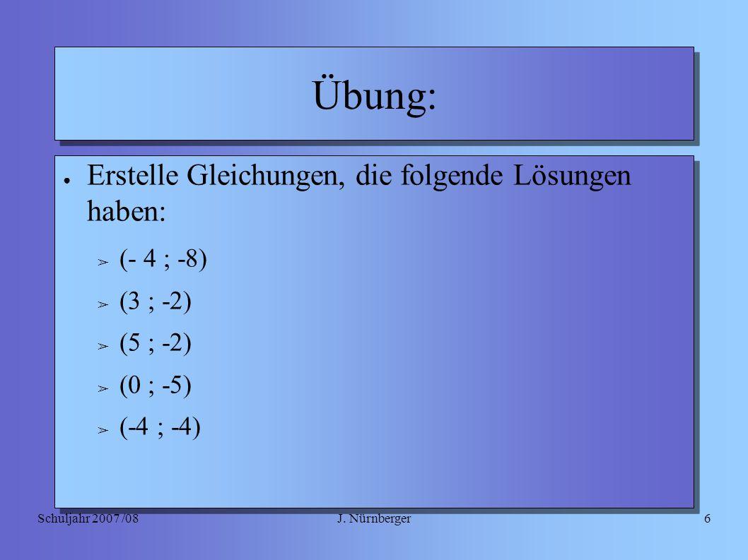 J. NürnbergerSchuljahr 2007 /086 Übung: ● Erstelle Gleichungen, die folgende Lösungen haben: ➢ (- 4 ; -8) ➢ (3 ; -2) ➢ (5 ; -2) ➢ (0 ; -5) ➢ (-4 ; -4)