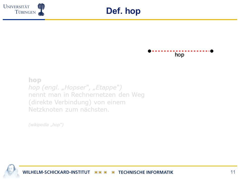 "11 Def. hop hop hop (engl. ""Hopser"", ""Etappe"") nennt man in Rechnernetzen den Weg (direkte Verbindung) von einem Netzknoten zum nächsten. (wikipedia """