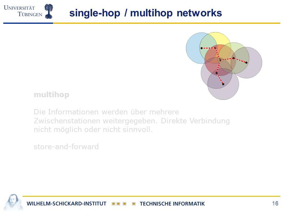 16 single-hop / multihop networks multihop Die Informationen werden über mehrere Zwischenstationen weitergegeben. Direkte Verbindung nicht möglich ode