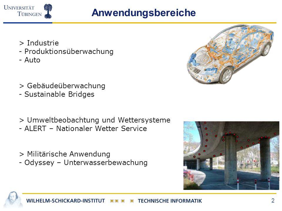 2 Anwendungsbereiche > Industrie - Produktionsüberwachung - Auto > Gebäudeüberwachung - Sustainable Bridges > Umweltbeobachtung und Wettersysteme - ALERT – Nationaler Wetter Service > Militärische Anwendung - Odyssey – Unterwasserbewachung