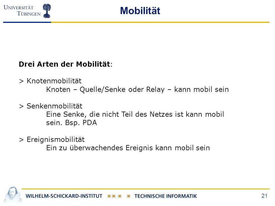 21 Mobilität Drei Arten der Mobilität: > Knotenmobilität Knoten – Quelle/Senke oder Relay – kann mobil sein > Senkenmobilität Eine Senke, die nicht Teil des Netzes ist kann mobil sein.