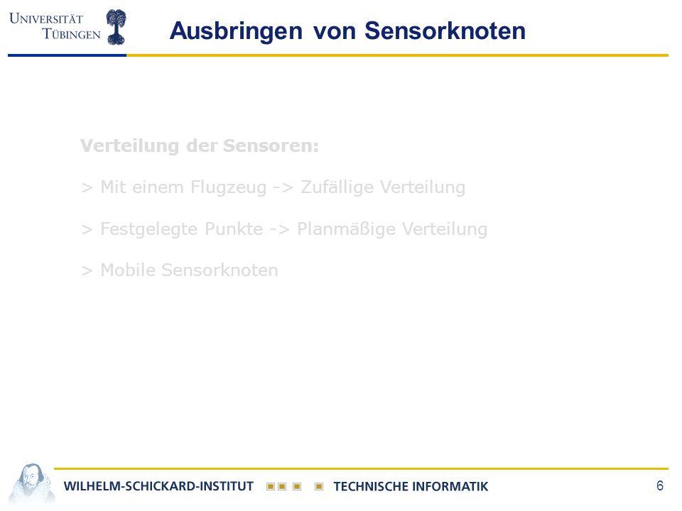 6 Ausbringen von Sensorknoten Verteilung der Sensoren: > Mit einem Flugzeug -> Zufällige Verteilung > Festgelegte Punkte -> Planmäßige Verteilung > Mo