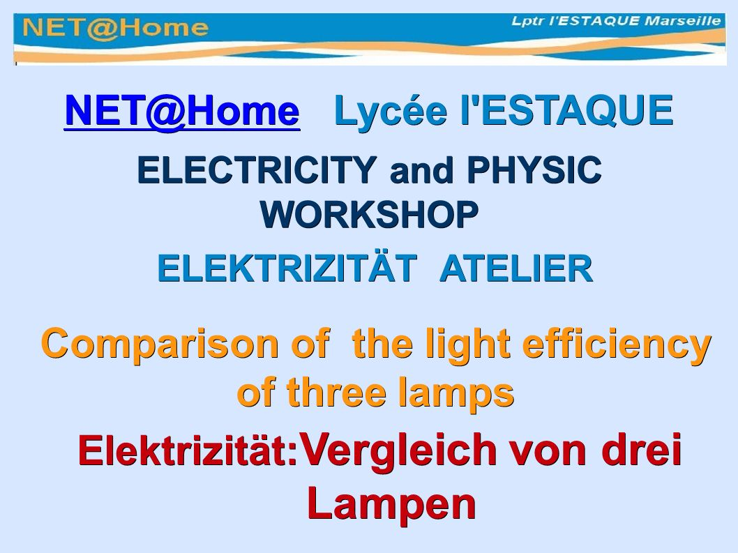Comparison of the light efficiency of three lamps Vergleich von drei Lampen Incandescent lamp Incandescent Glühbirne L.E.D.