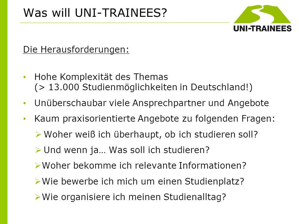 Die Herausforderungen: Hohe Komplexität des Themas (> 13.000 Studienmöglichkeiten in Deutschland!) Unüberschaubar viele Ansprechpartner und Angebote K