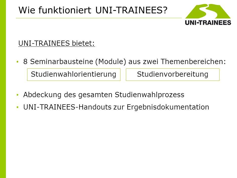8 Seminarbausteine (Module) aus zwei Themenbereichen: Abdeckung des gesamten Studienwahlprozess UNI-TRAINEES-Handouts zur Ergebnisdokumentation Wie fu