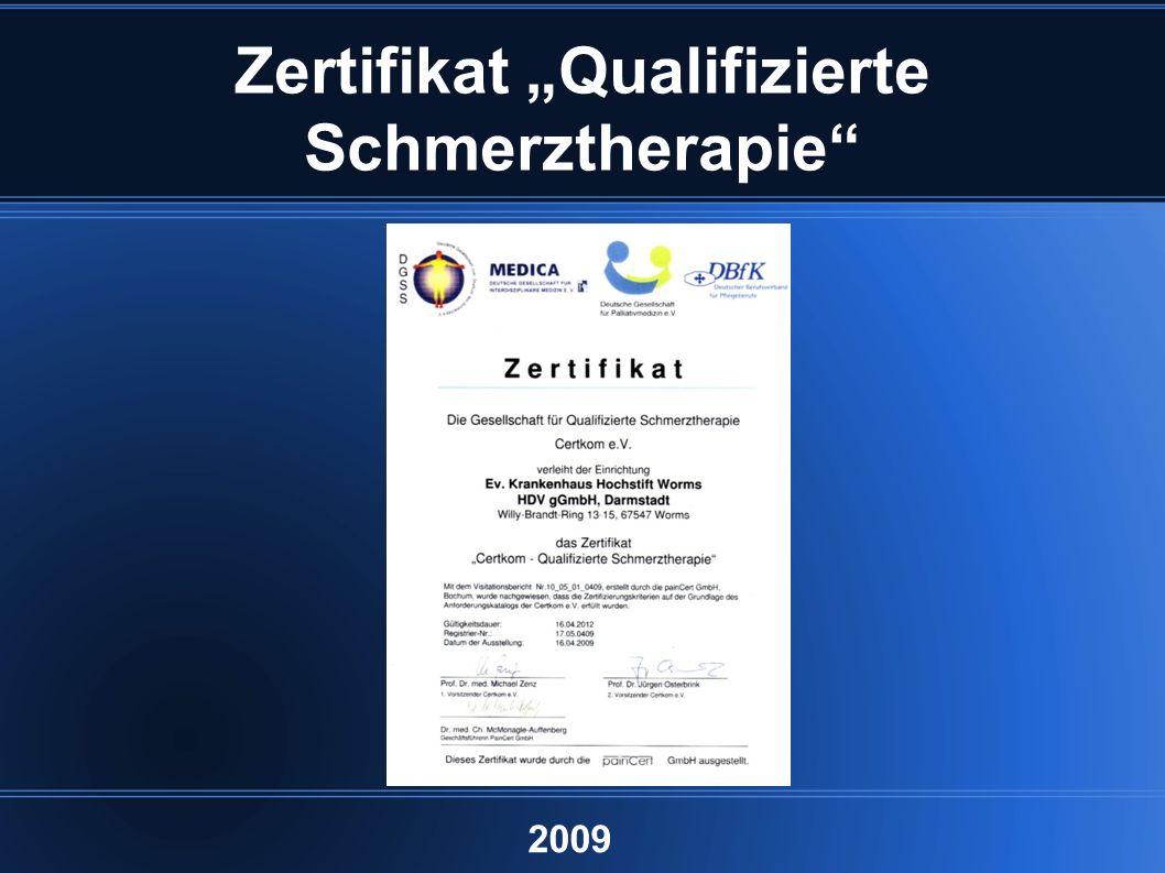"""Zertifikat """"Qualifizierte Schmerztherapie 2009"""