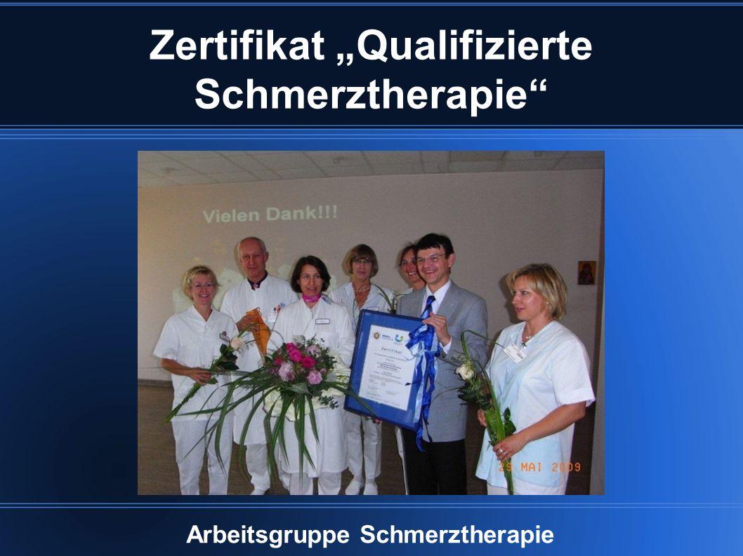 """Zertifikat """"Qualifizierte Schmerztherapie Arbeitsgruppe Schmerztherapie"""