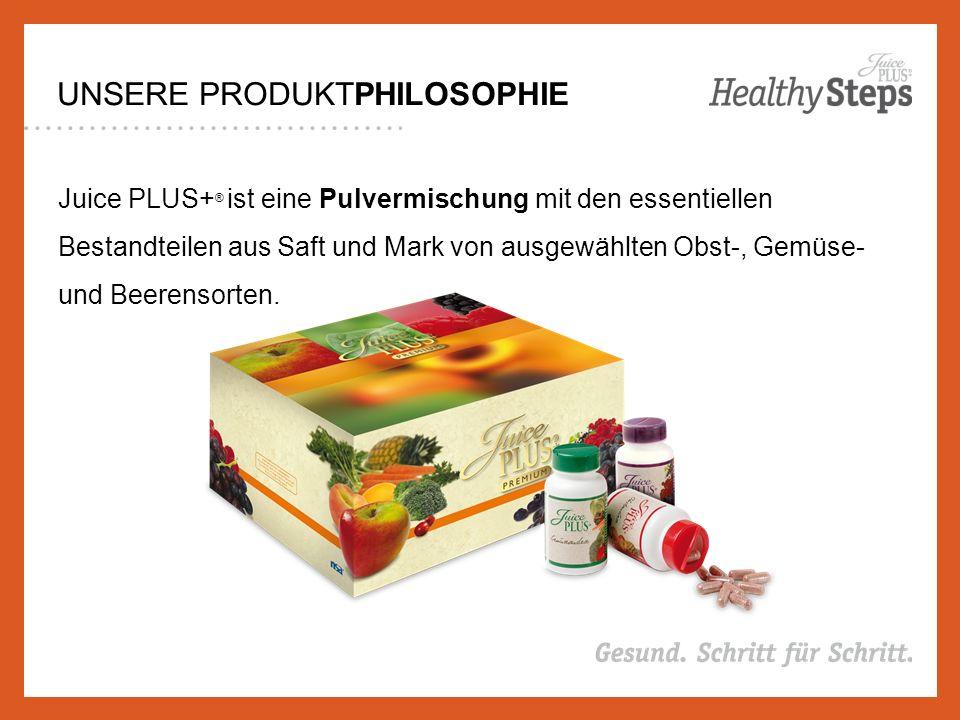 UNSERE PRODUKTPHILOSOPHIE Juice PLUS+ ® ist eine Pulvermischung mit den essentiellen Bestandteilen aus Saft und Mark von ausgewählten Obst-, Gemüse- und Beerensorten.