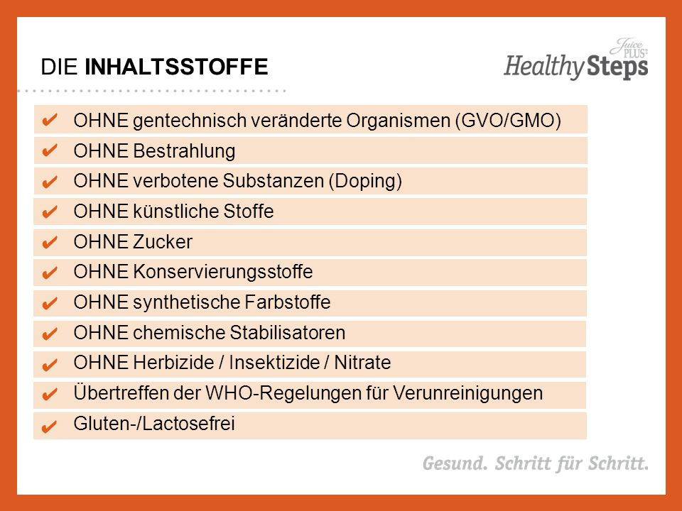 DIE INHALTSSTOFFE OHNE gentechnisch veränderte Organismen (GVO/GMO) OHNE Bestrahlung OHNE verbotene Substanzen (Doping) OHNE künstliche Stoffe OHNE Zucker OHNE Konservierungsstoffe OHNE synthetische Farbstoffe OHNE chemische Stabilisatoren OHNE Herbizide / Insektizide / Nitrate Übertreffen der WHO-Regelungen für Verunreinigungen Gluten-/Lactosefrei