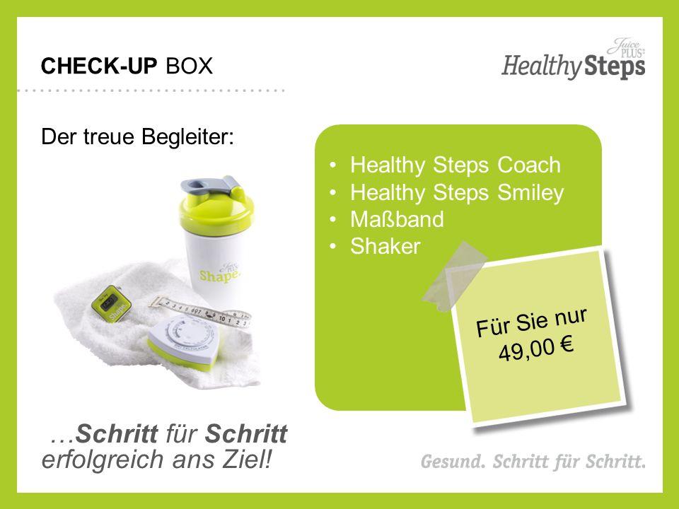 CHECK-UP BOX Der treue Begleiter: Healthy Steps Coach Healthy Steps Smiley Maßband Shaker …Schritt für Schritt erfolgreich ans Ziel.
