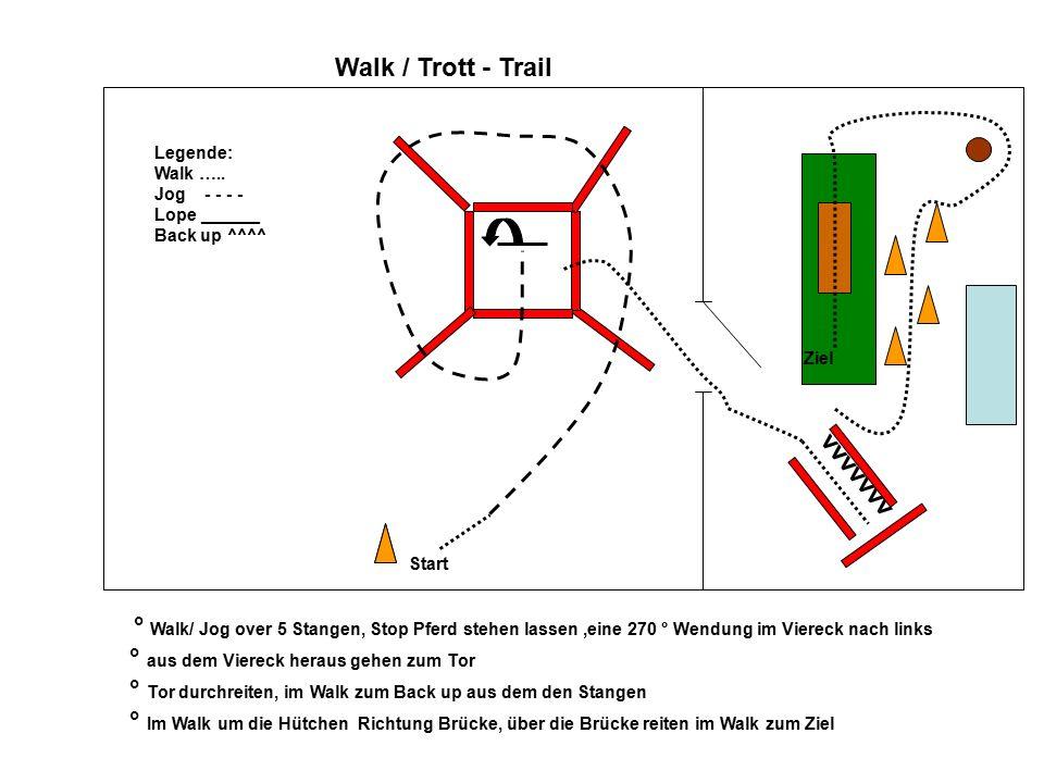 Hand - Trail 1 2 3 VVVV 4 5 6 7 1.Aufstellen 2.weiter im Schritt um die Hütchen 3.im Trab über die Stangen und im Schritt zu 4 4.Rückwärts durch das Stangen L führen, im Trab bis 5 5.das Tor öffnen, durch führen und geöffnet lassen zu 6 6.im Schritt über die Brücke im Schritt zu dem offenen Tor und Tor schließen dort antraben bis 7 7.Aufstellen und den Richter grüßen