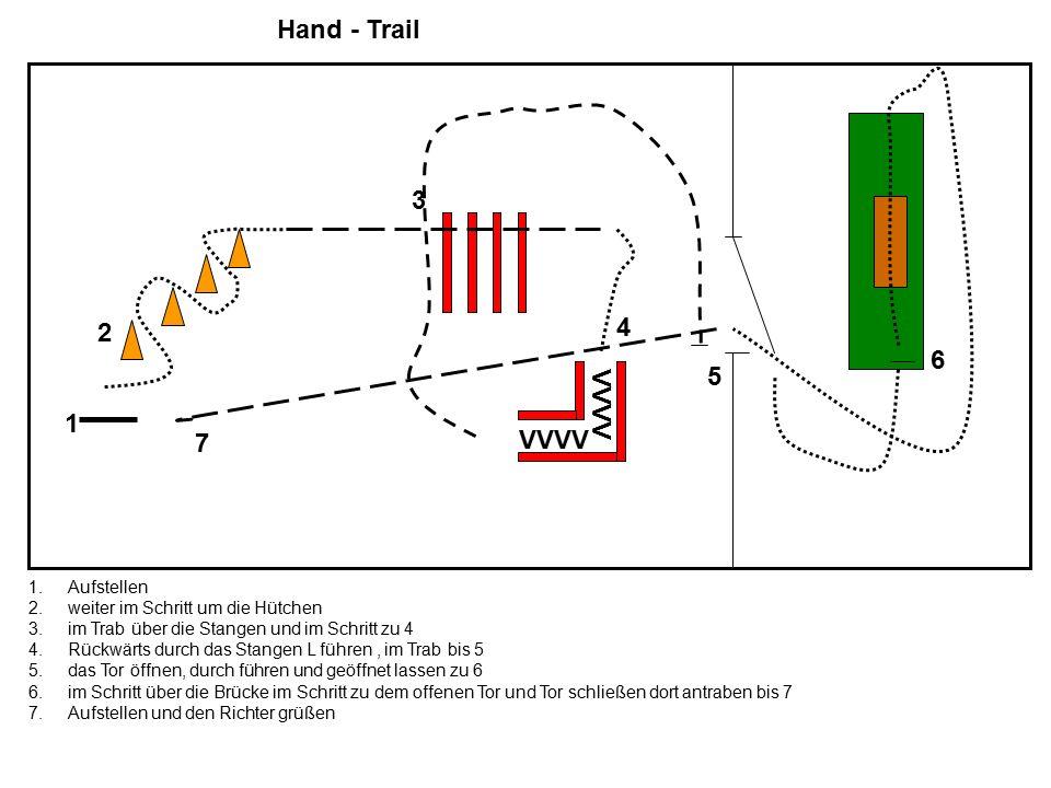 Hand - Trail 1 2 3 VVVV 4 5 6 7 1.Aufstellen 2.weiter im Schritt um die Hütchen 3.im Trab über die Stangen und im Schritt zu 4 4.Rückwärts durch das S