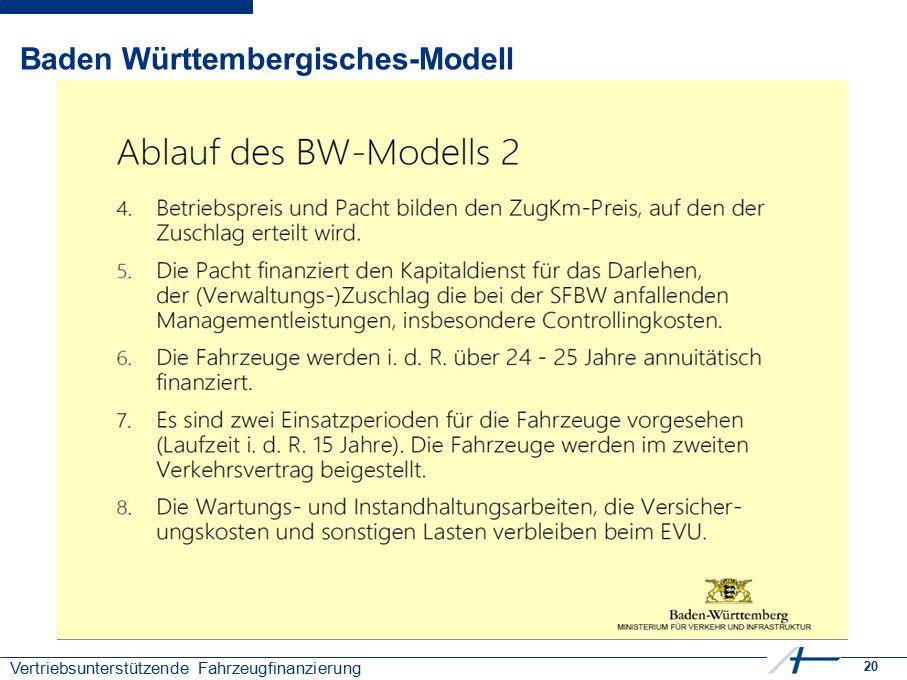 20 Vertriebsunterstützende Fahrzeugfinanzierung Baden Württembergisches-Modell