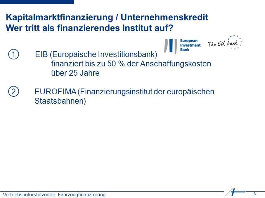 8 Vertriebsunterstützende Fahrzeugfinanzierung Kapitalmarktfinanzierung / Unternehmenskredit Wer tritt als finanzierendes Institut auf? 1EIB (Europäis