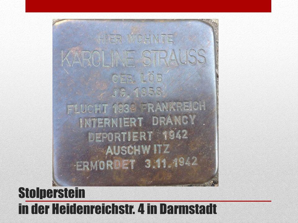 Stolperstein in der Heidenreichstr. 4 in Darmstadt