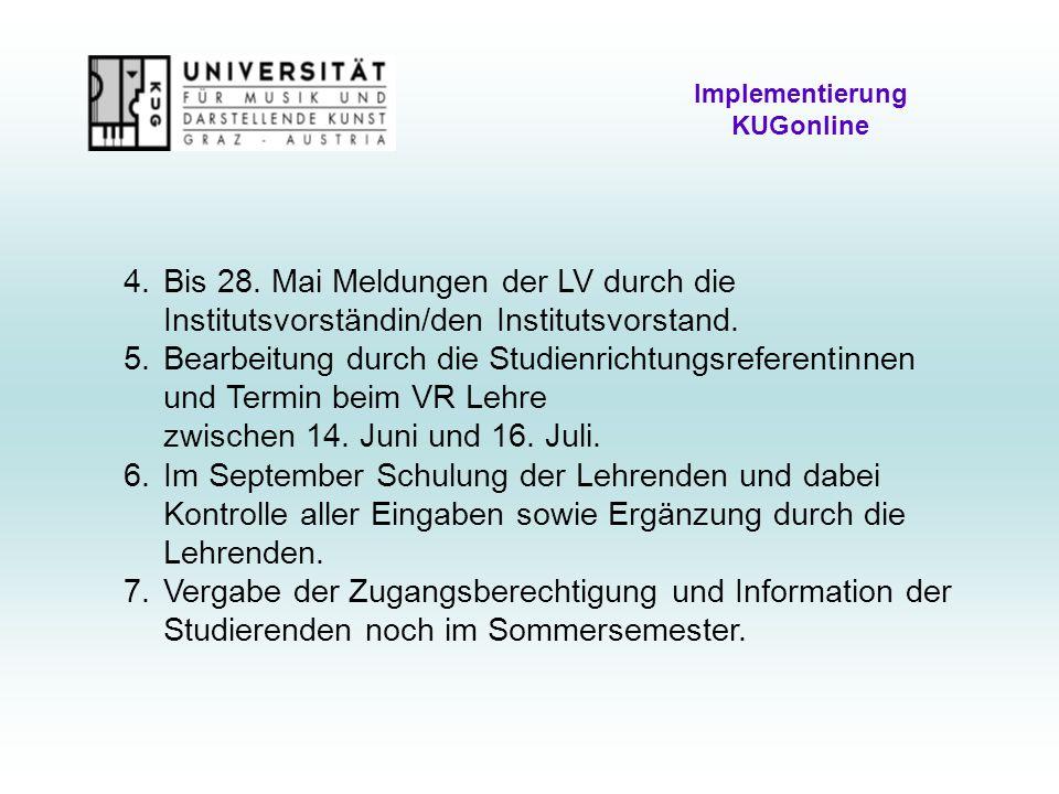 Implementierung KUGonline 4.Bis 28.