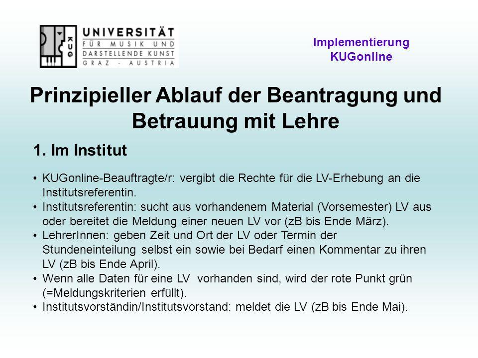 Prinzipieller Ablauf der Beantragung und Betrauung mit Lehre Implementierung KUGonline 1.