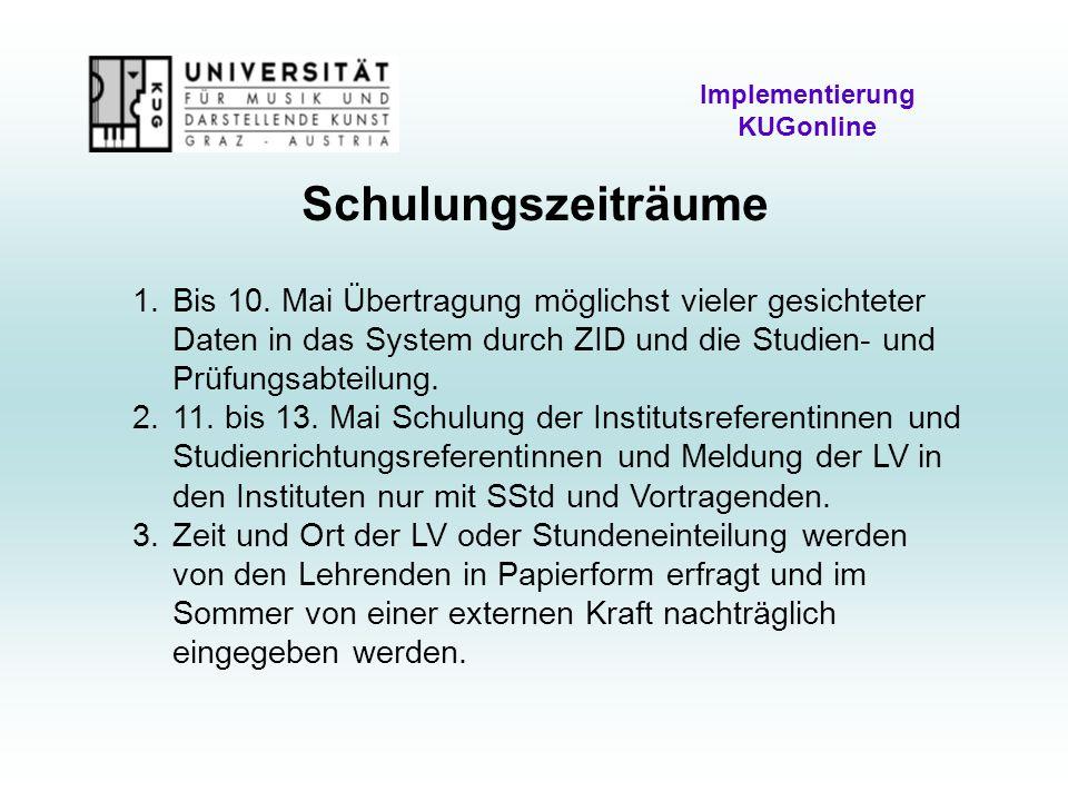 Schulungszeiträume Implementierung KUGonline 1.Bis 10.