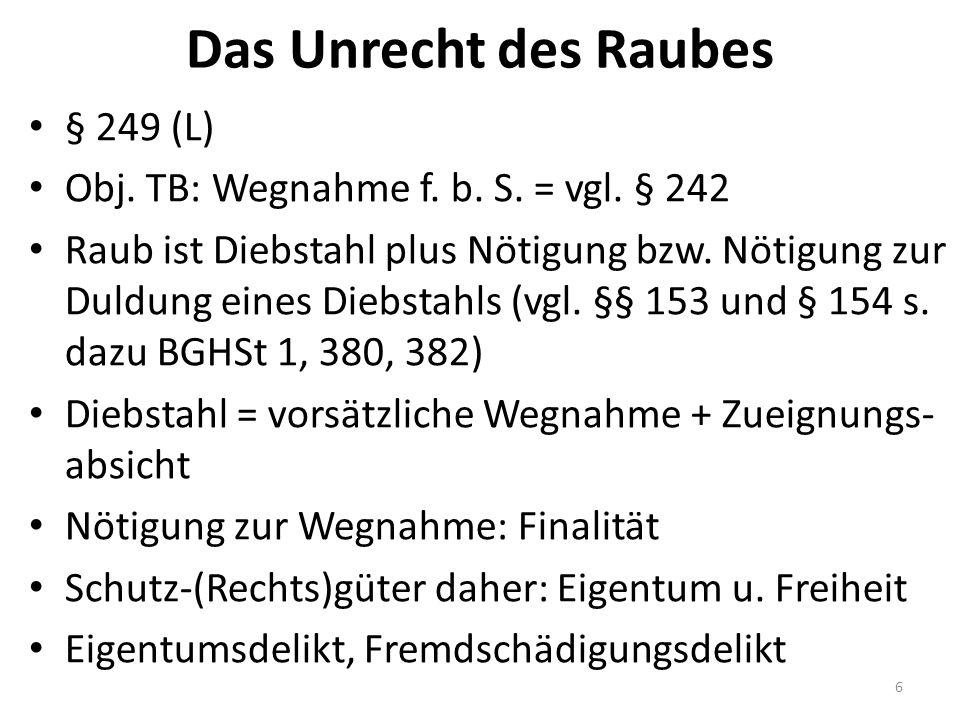 Das Unrecht des Raubes § 249 (L) Obj. TB: Wegnahme f.