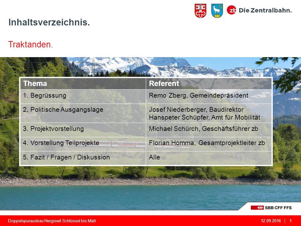 Inhaltsverzeichnis. 12.09.2016Doppelspurausbau Hergiswil Schlüssel bis Matt1 ThemaReferent 1.