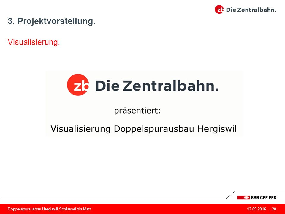 3. Projektvorstellung. 12.09.201620 Visualisierung. Doppelspurausbau Hergiswil Schlüssel bis Matt