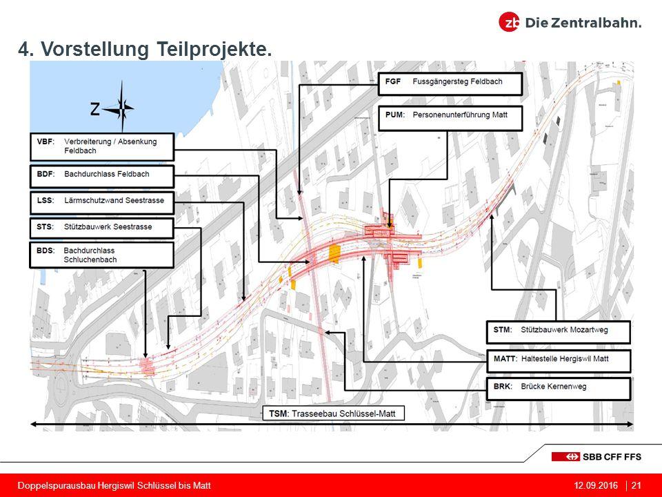4. Vorstellung Teilprojekte. 21Doppelspurausbau Hergiswil Schlüssel bis Matt12.09.2016