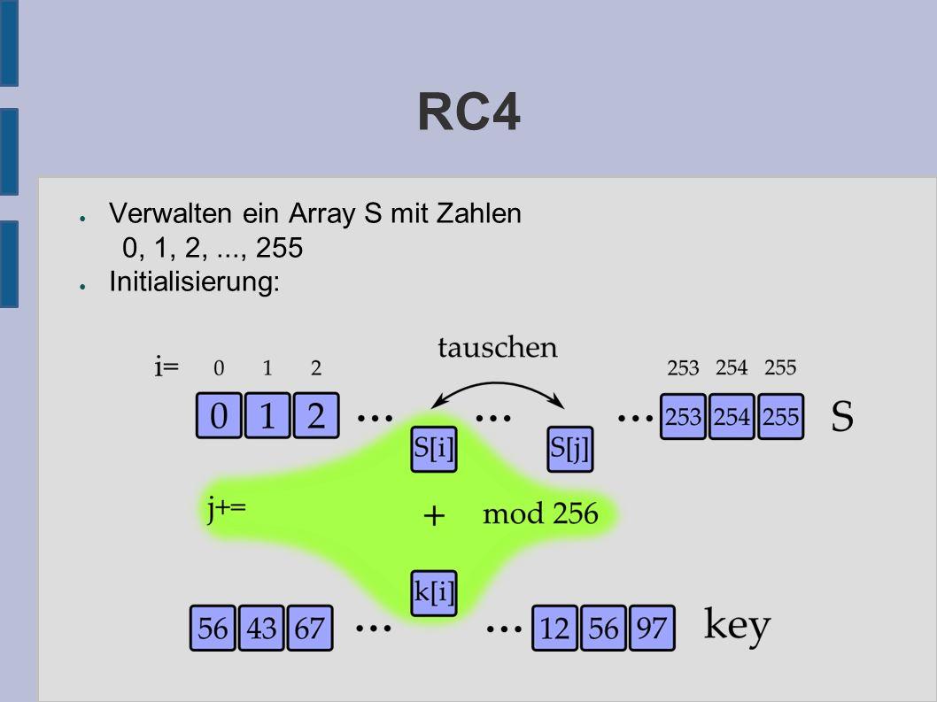 RC4 ● Verwalten ein Array S mit Zahlen 0, 1, 2,..., 255 ● Initialisierung: