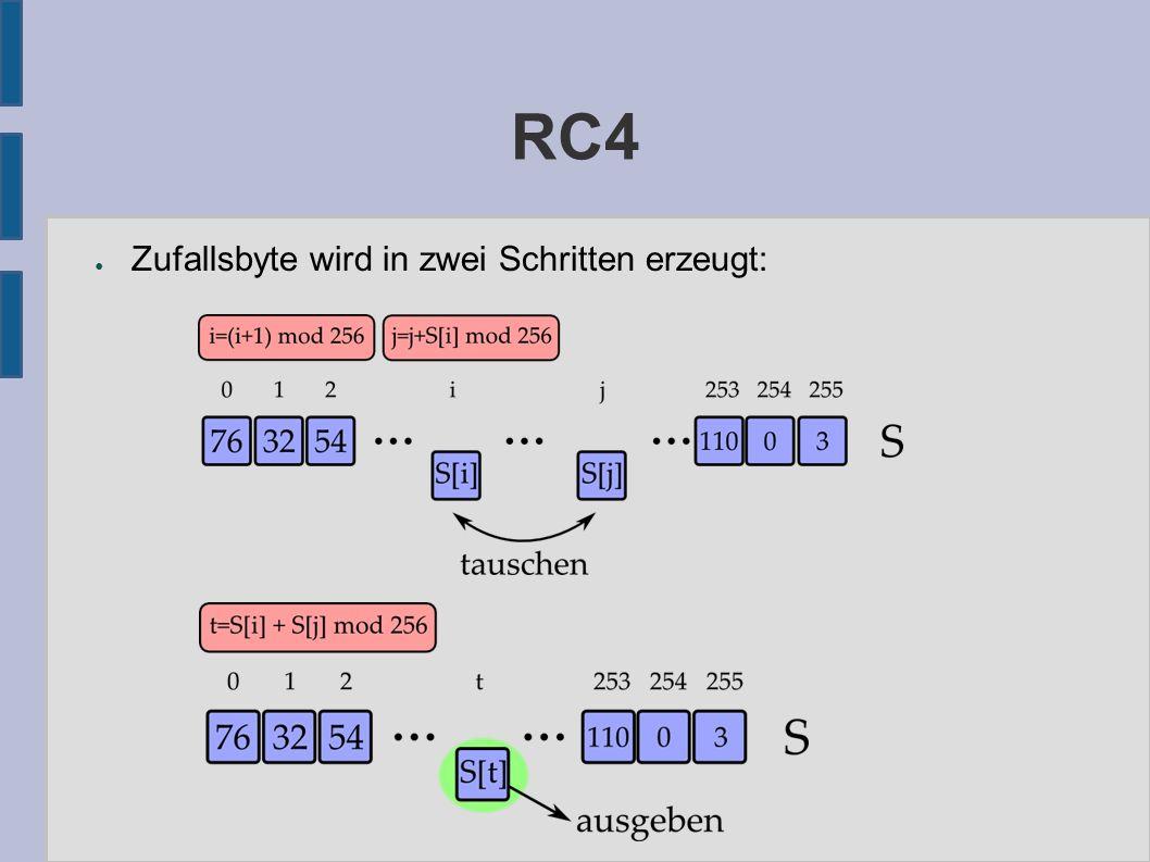 RC4 ● Zufallsbyte wird in zwei Schritten erzeugt: