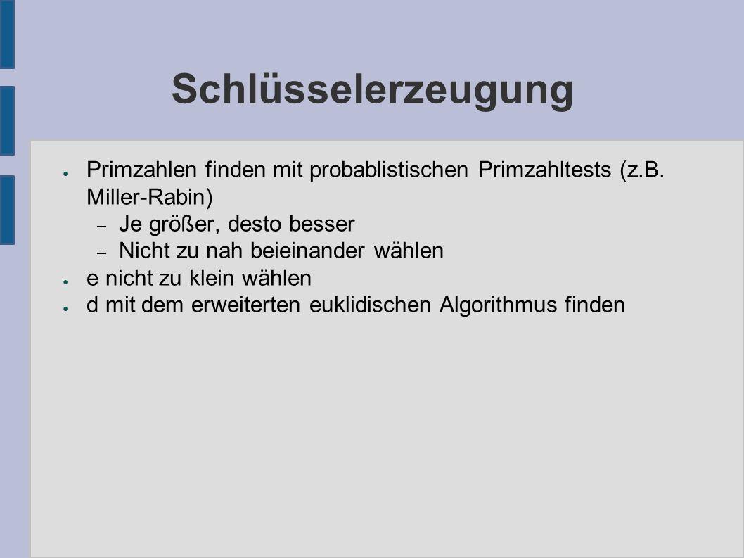 ● Primzahlen finden mit probablistischen Primzahltests (z.B.