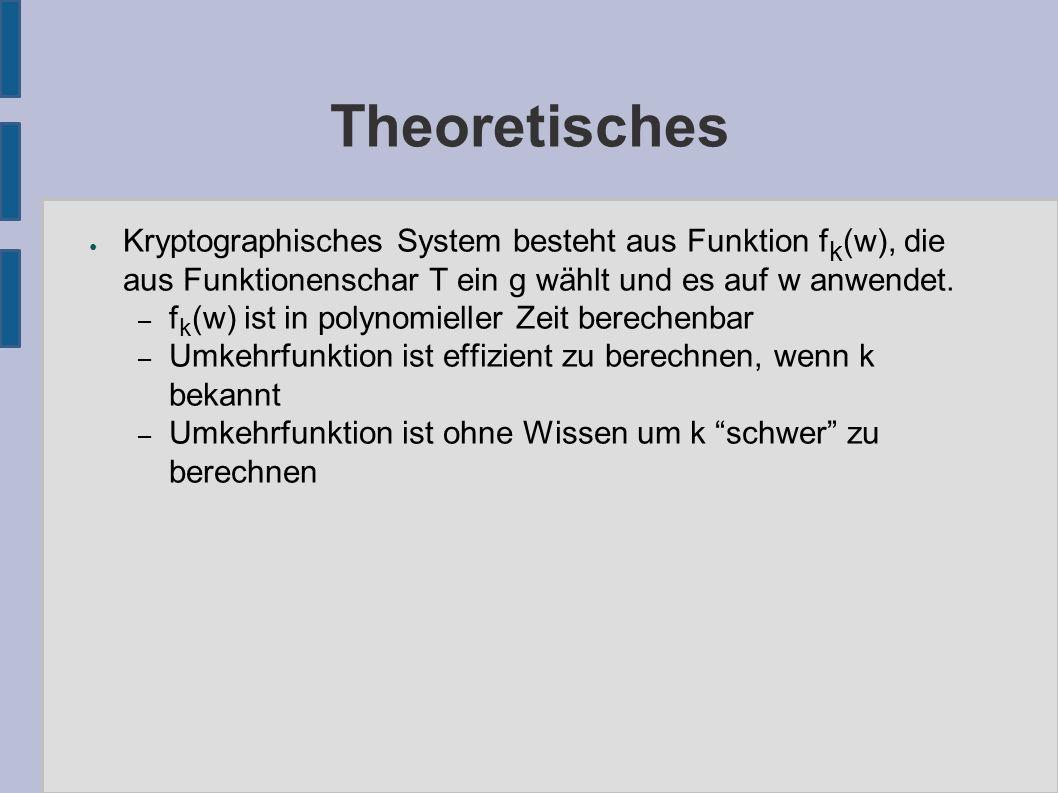 Theoretisches ● Kryptographisches System besteht aus Funktion f k (w), die aus Funktionenschar T ein g wählt und es auf w anwendet.