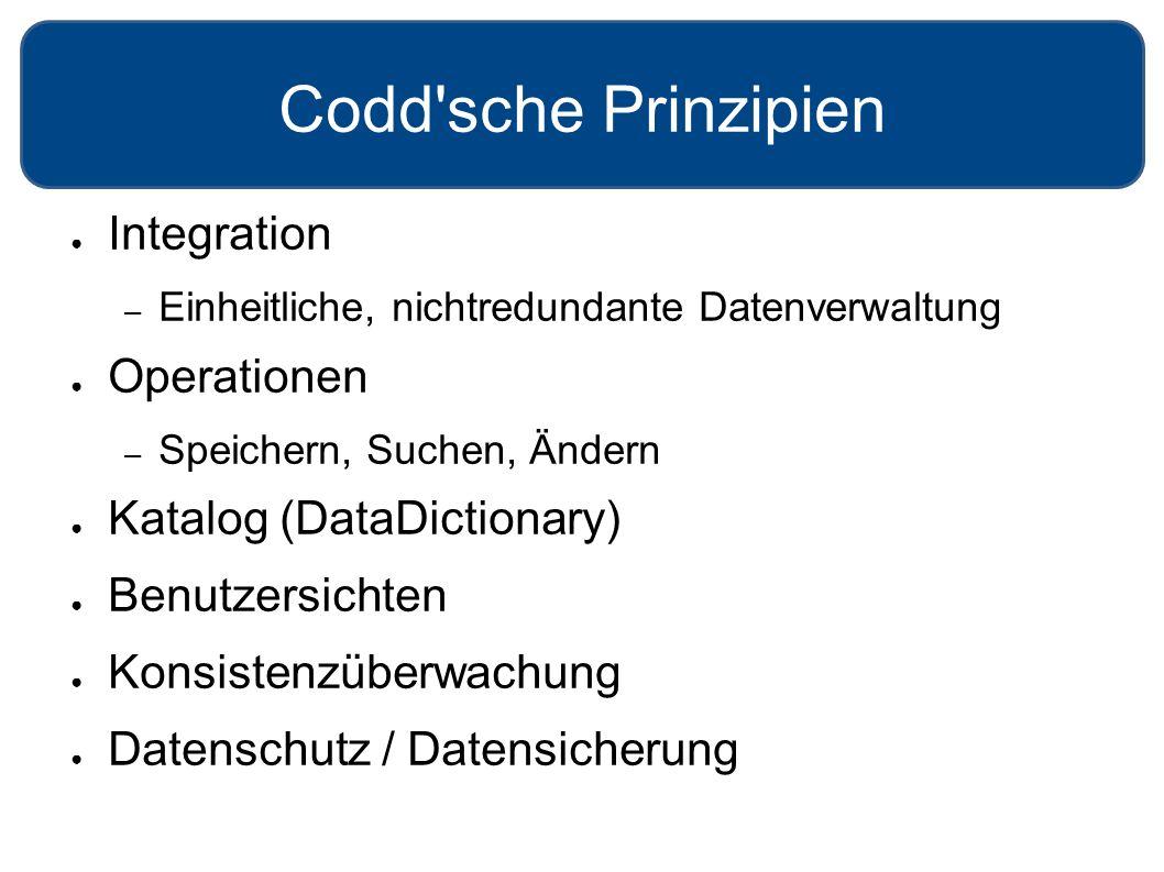 Codd'sche Prinzipien ● Integration – Einheitliche, nichtredundante Datenverwaltung ● Operationen – Speichern, Suchen, Ändern ● Katalog (DataDictionary