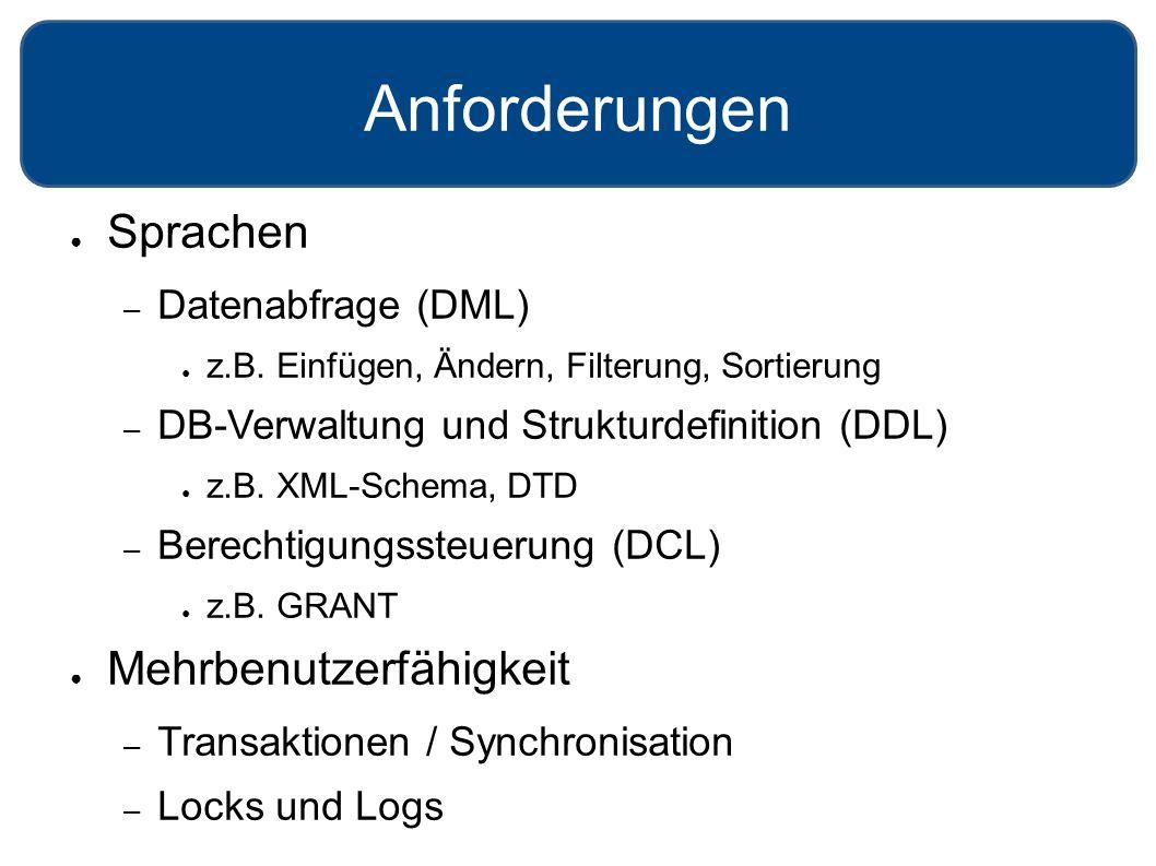 Anforderungen ● Sprachen – Datenabfrage (DML) ● z.B. Einfügen, Ändern, Filterung, Sortierung – DB-Verwaltung und Strukturdefinition (DDL) ● z.B. XML-S