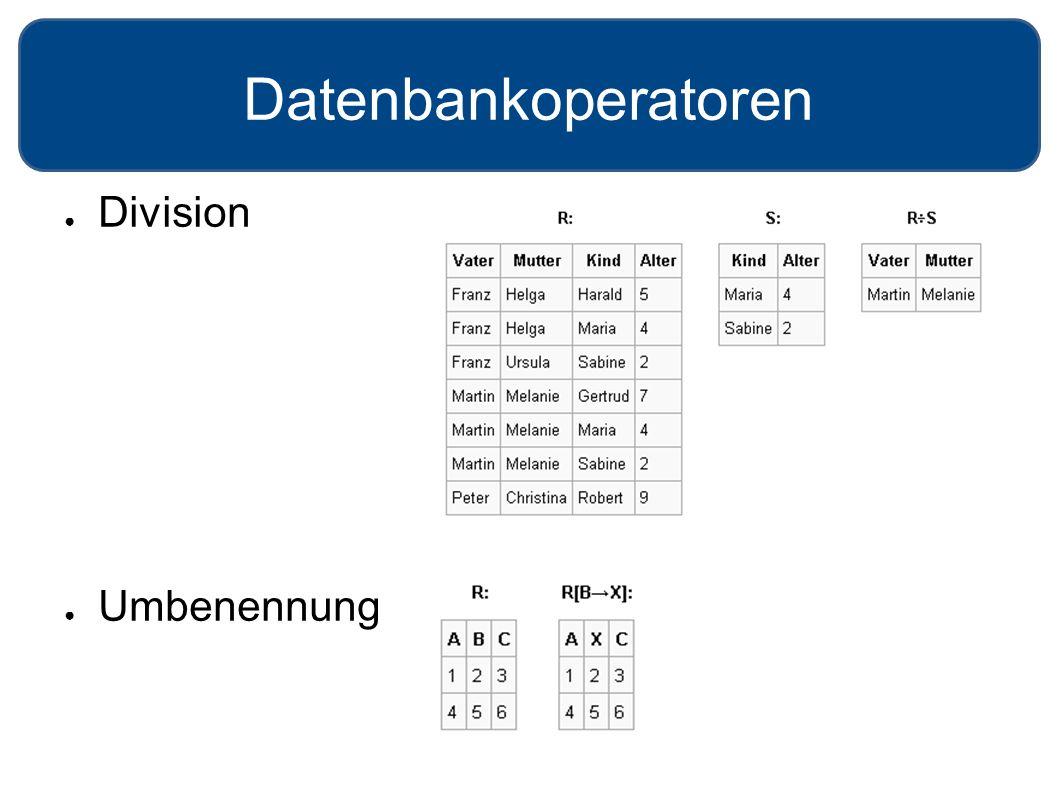Datenbankoperatoren ● Division ● Umbenennung