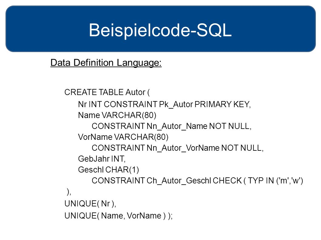 Beispielcode-SQL Data Definition Language: CREATE TABLE Autor ( Nr INT CONSTRAINT Pk_Autor PRIMARY KEY, Name VARCHAR(80) CONSTRAINT Nn_Autor_Name NOT
